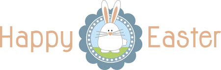 Cute little Easter bunny decal for Easter decoration. Illustration