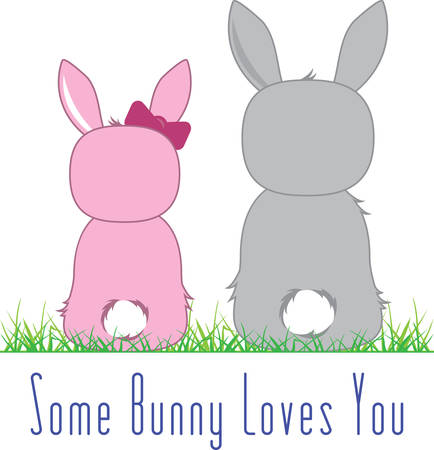 backwards: A pair of cute little Easter bunnies sitting backwards. Use this design for your Easter decoration Illustration
