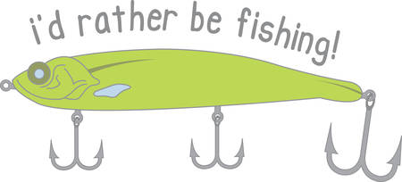 Time for fishing grab your fishing rod and favorite lure and take the day off Illustration