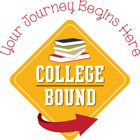 Personalize linen, clothing, framed embroidery and more with this design for your college bound kids! Ilustrace