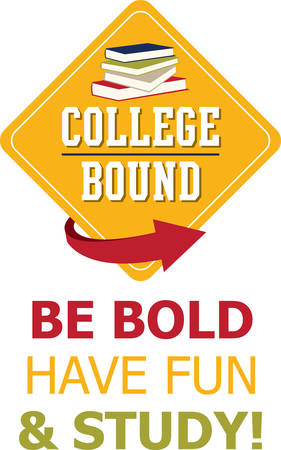 Personalize linen, clothing, framed embroidery and more with this design for your college bound kids! 일러스트