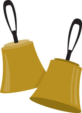 This set of choir bells will make a stylish accent to towels, linens, and pockets. Illustration