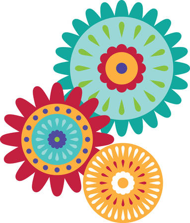 decal: Flowers are the universally popular motif for embroidery.   Make a perfect gift every time with this design on clothes, household linen and more.