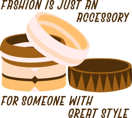 accessorize: Accessorize to your hearts desire.  Get this fabulous yet functional design on your indoor projects and add personality to your style! Illustration