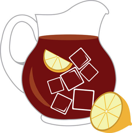 ice tea: Quench your thirst on a hot day with this refreshing drink!  This design is perfect on all your summer celebrations such as kids birthday, baby shower, book club events and more! Illustration