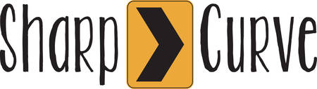 curve ahead sign: Take action to spread awareness of traffic safety in schools and libraries with this design on banners, framed embroidery, clothing and more!