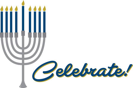 candelabrum: The Menorah design is beautiful and bright and fills you to the brim with holiday spirit and is perfect on gifts, table runners, kitchen linens, home decor and on all things Hanukkah!