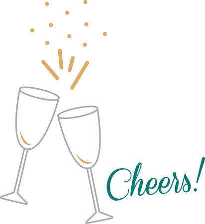 good cheer: Toast to good health and cheer! Ring in the new year with this perfect design on cocktail napkins and personalized gifts for loved ones!