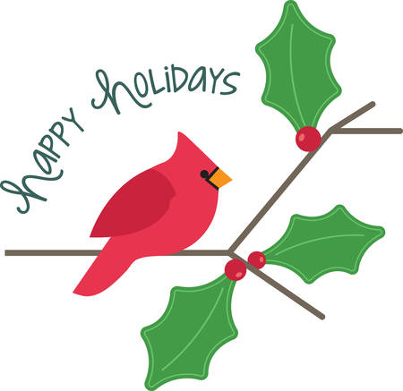 passerine: Bring these bright red cardinals home to roost and add a touch of color to your indoor wintry decorations with this design on your holiday projects! Illustration