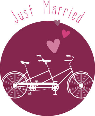 two wheeler: This heartwarming design will make a great keepsake for the newlyweds on framed embroidery, bed covers and personalized gifts. Illustration