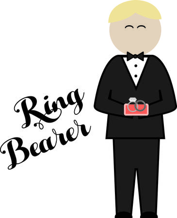 bearer: Deck the ring bearer out in style on the big day!  Customize gifts and accessories with this design on clothing, framed embroidery, throw pillows and more! Illustration