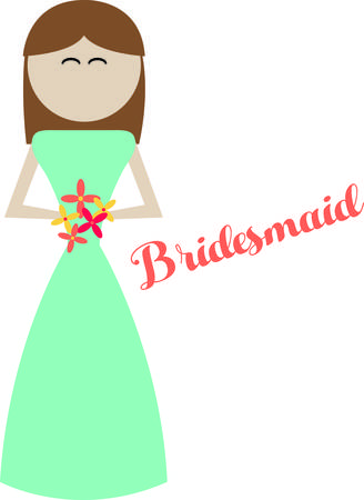 bridesmaid: Deck the bridesmaid out in style on the big day!  Customize gifts and accessories with this design on clothing, framed embroidery, throw pillows and more!