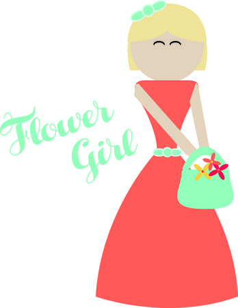Deck the flower girl out in style on the big day!  Customize gifts and accessories with this design on clothing, framed embroidery, throw pillows and more! 일러스트