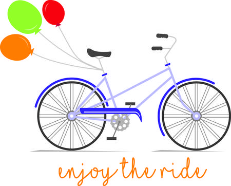 two wheeler: Balloons make any celebration more special!  Indulge with this colorful, festive and fun decoration on special occasion projects! Illustration