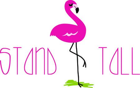 Maak een show-stoppen jassen, tafellopers, en accessoires met deze betoverende flamingo ontwerp! Stock Illustratie
