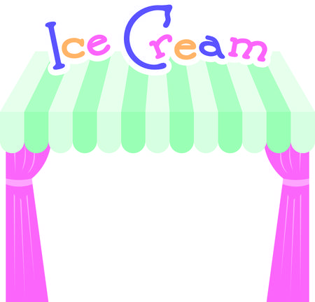 Blijf koel deze zomer met deze ijskoude traktatie op keukenlinnen, tafelkleden en nog veel meer! Stock Illustratie