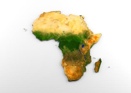 Representación 3D de un mapa físico extruido de alta resolución (con relieve) del continente africano, aislado sobre fondo blanco.