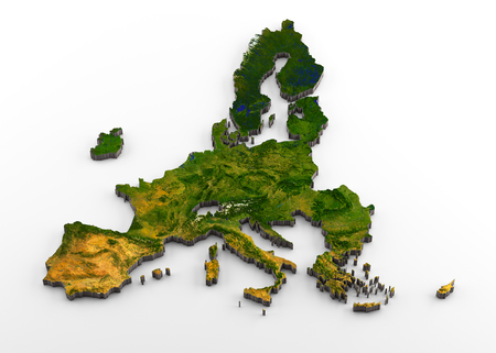 3D rendering of extruded high-resolution physical map (with relief) of the European Union after Brexit (including the United Kingdom), isolated on white background.