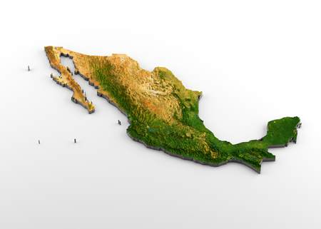 3D rendering of extruded high-resolution physical map (with relief) of Mexico, isolated on white background.