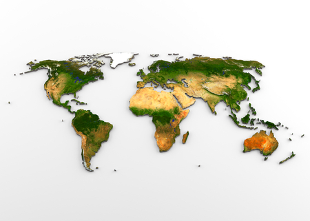 3D rendering of extruded high-resolution physical map (with relief) of the World, isolated on white background.