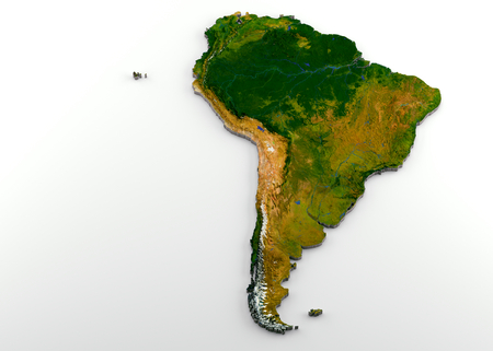 Realistic 3D Extruded Map of South America