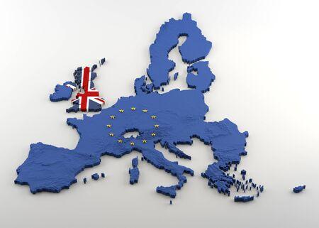 Extrudierte politische Karte der Europäischen Union und des Vereinigten Königreichs mit Erleichterung nach dem erwarteten Brexit. Texturen aus Union Jack und EU-Flaggen (mit goldenen Sternen, die in EU-3D-Form verkrustet sind) auf weißem Hintergrund.