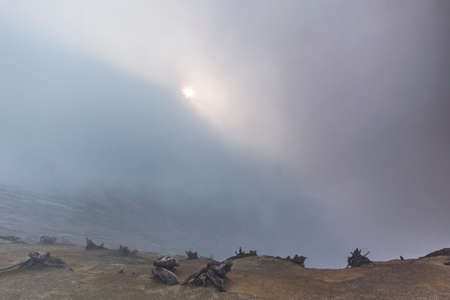 fumes: Sun behind the sulfur fumes