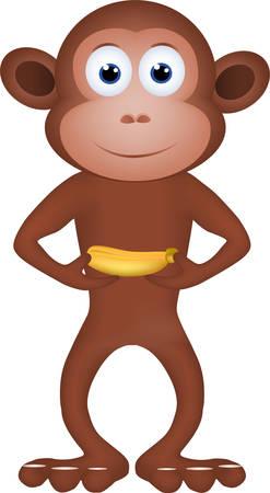Cartoon of a monkey carrying a banana