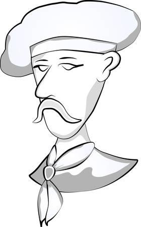 Cartoon professional chef emblem Ilustração