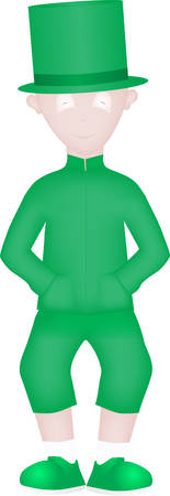 The cartoon of a young man in green celebrates the holiday