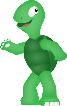 The cartoon of a turtle walks happily