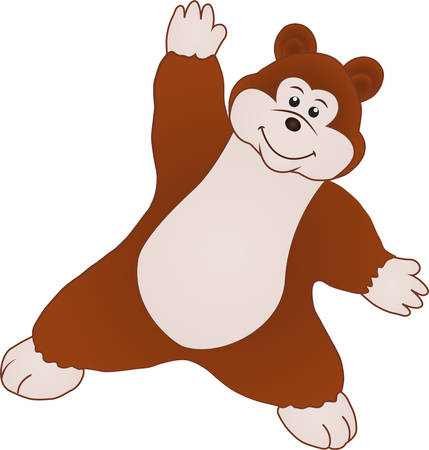 Cartoon of a little bear dancing Ilustração