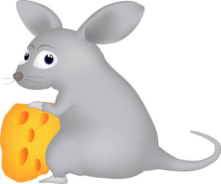 Caricatura de un ratón y queso Ilustración de vector