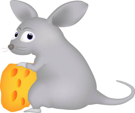 Cartone animato di un topo e formaggio Vettoriali