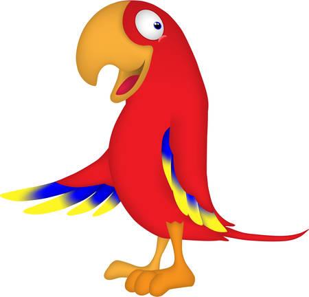 Cartoon parrot runs in the morning