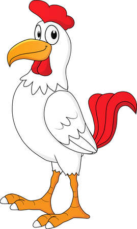 cartoon of a rooster in the morning