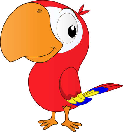 A cartoon of a smiling parrot on a sunny day welcoming the arrival of the holiday season can play with his friends 向量圖像