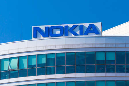 Warsaw, Poland - March 2019: Nokia company logo on the office building in Warsaw city center Sajtókép