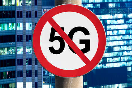 Sign no 5G and the night city Stok Fotoğraf