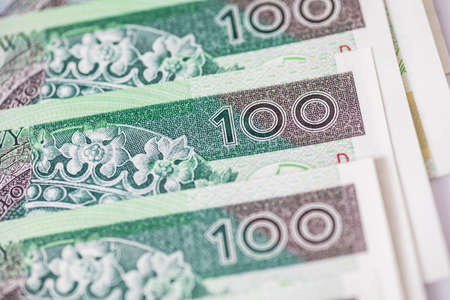 Polish currency banknote, paper money. Polish zloty (the masculine from the Polish word 'golden') close-up, selective focus. PLN 100/100 PLN. Reklamní fotografie
