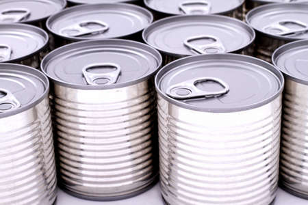A group of cans isolated background  photo