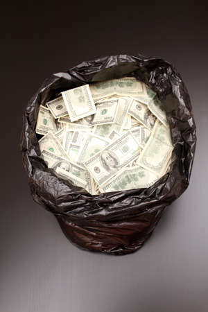 A Rubbish bag full of dollars   photo