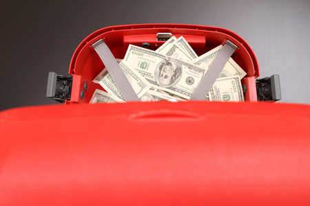 A Suitcase with lots of dollars  photo