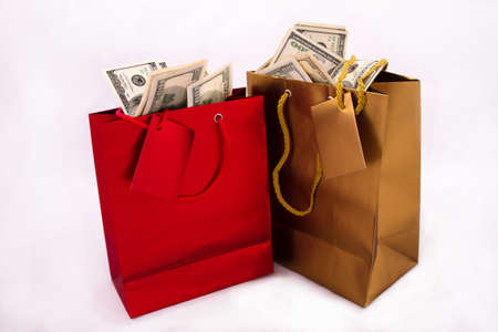 A gold and a red gift bag with dollars, isolated  photo