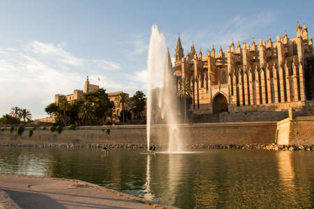 Royal Palace of La Almudaina and Cathedral La Seu in Palma de Mallorca, facing Parc de la Mar
