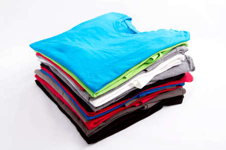 A pile of folded T shirts   Stock Photo