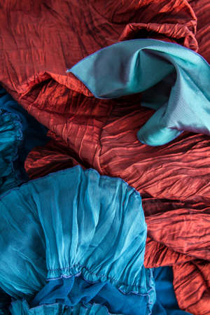 sheeny: A fancy wrinkled blue and red fabric background