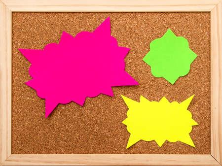 cork board: Cartoon bubbles on a cork board background