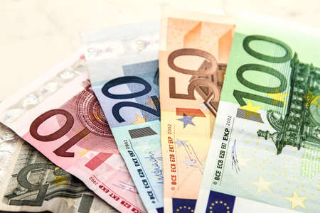 Euros, banknotes of different values