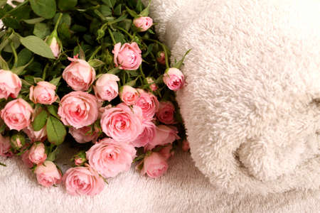 Bunch of small pink Roses on towels, close up.  photo